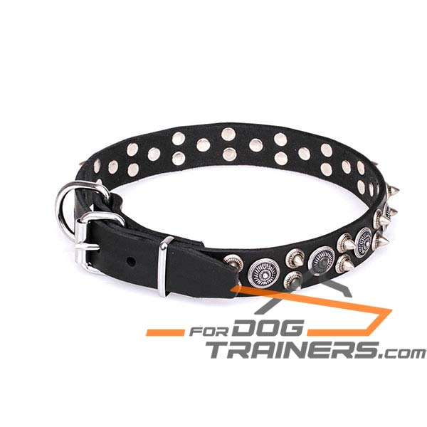 Leather dog collar for comfy wearing