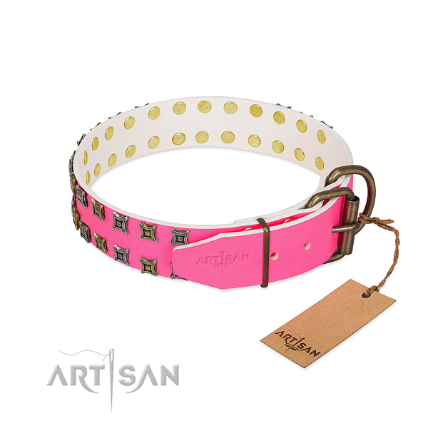 Easy Adjustable Leather Dog Collar with Strong Bronze-like Plated Hardware