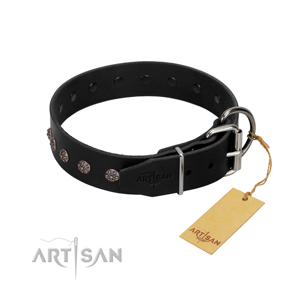 Comfortable leather dog collar for safe everyday walks