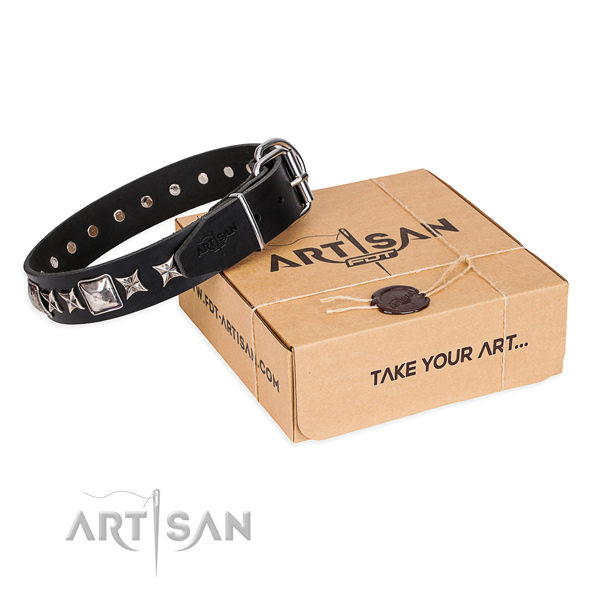 Everyday elegance black leather dog collar with decorations
