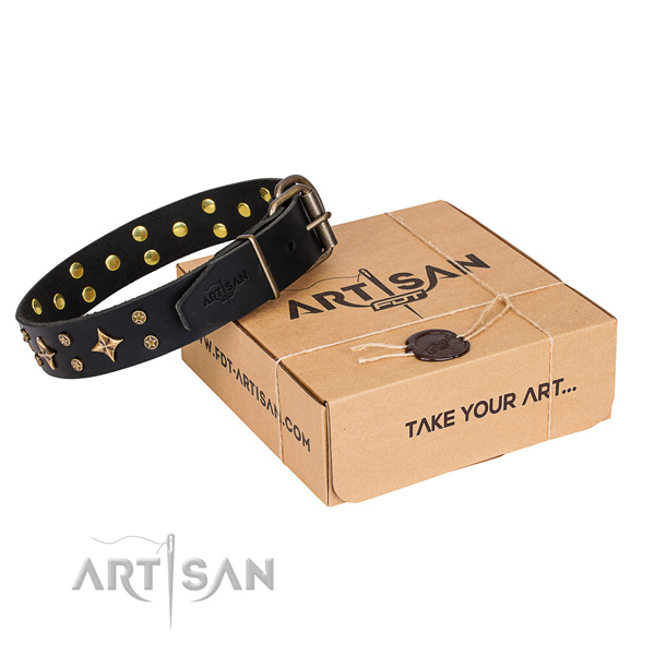 Refined black leather dog collar with decorations