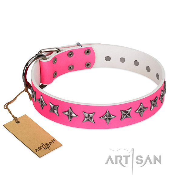 Pink Leather Dog Collar with Exquisite Design