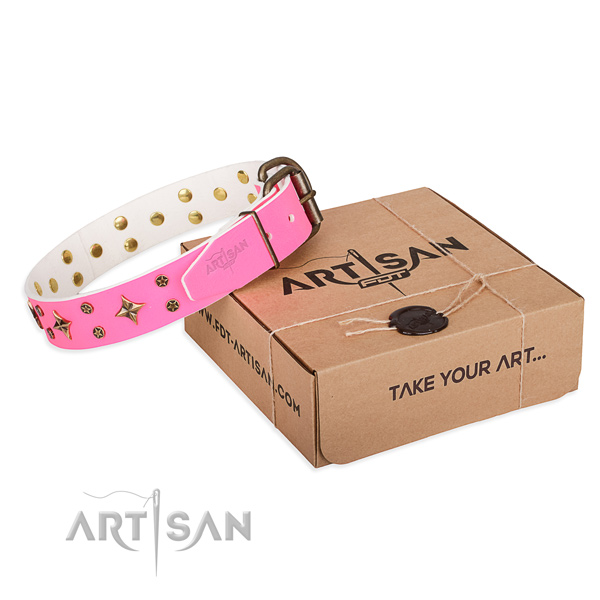 Juicy pink leather dog collar with decorations