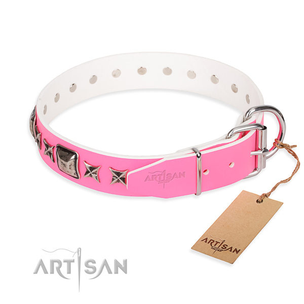 Pink leather dog collar with chrome plated steel hardware