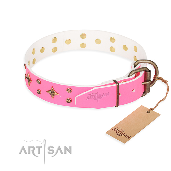 Pink leather dog collar with rust-proof hardware