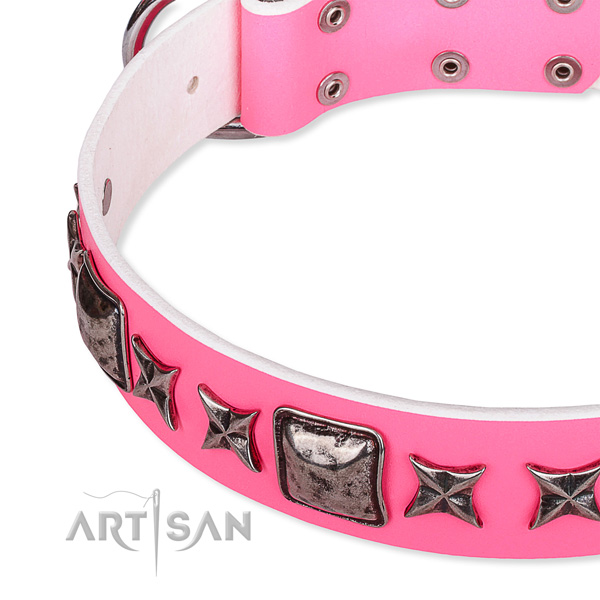 Non-toxic pink leather dog collar