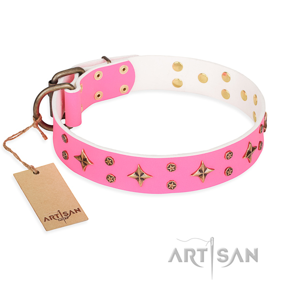 Easy walking pink leather dog collar