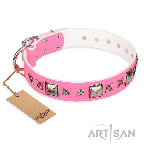 Exquisite pink leather dog collar