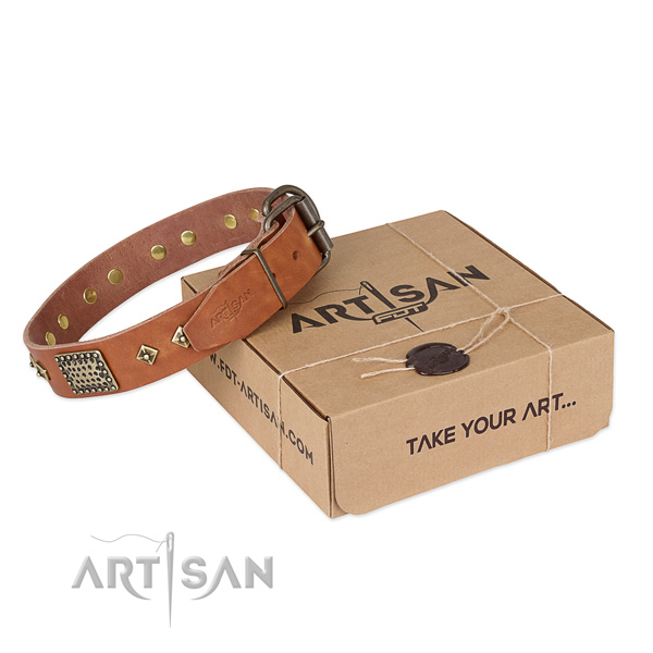 Easy to adjust tan leather dog collar