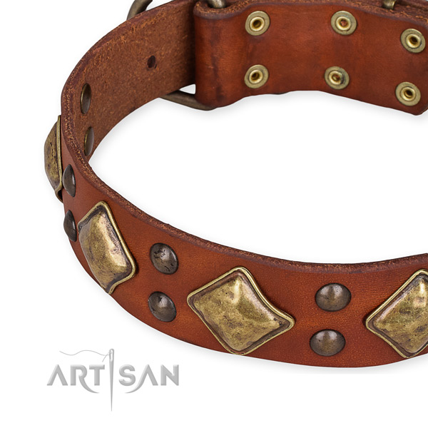 Adjustable tan leather dog collar