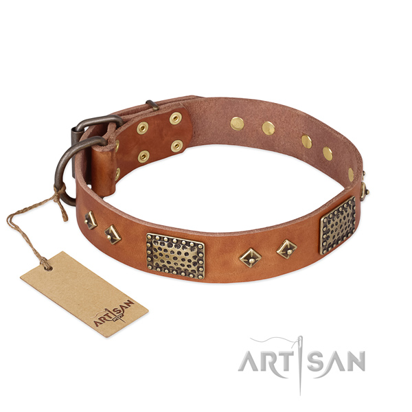 Exclusive designer tan leather dog collar