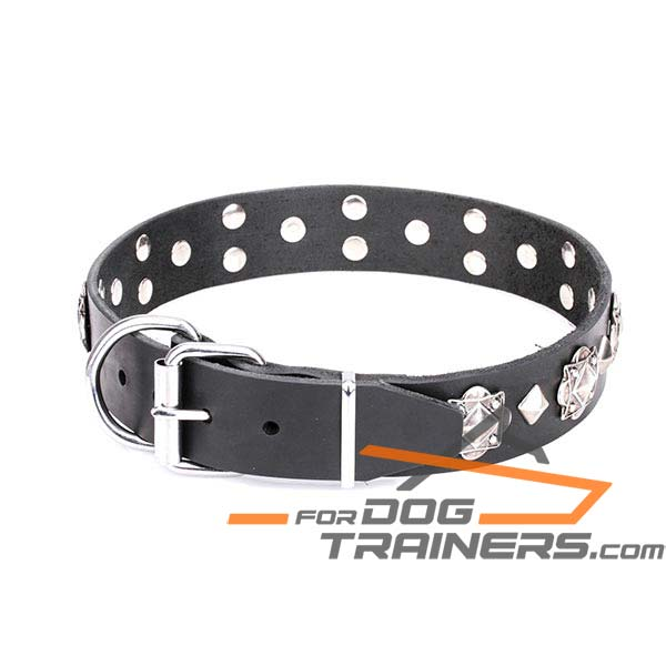 Leather dog collar with buckle for reliable handling
