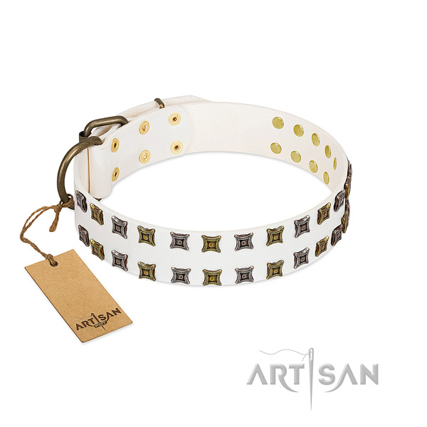 White Leather Dog Collar with Unique Adornments