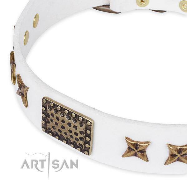 White leather dog collar for fashion walking