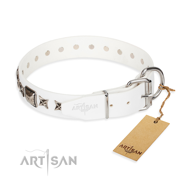 White leather dog collar with chrome plated steel hardware