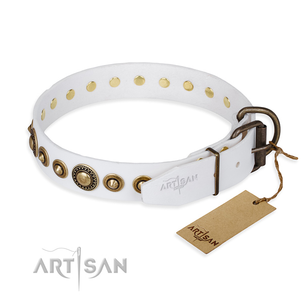 Durable white leather dog collar with buckle and D-ring