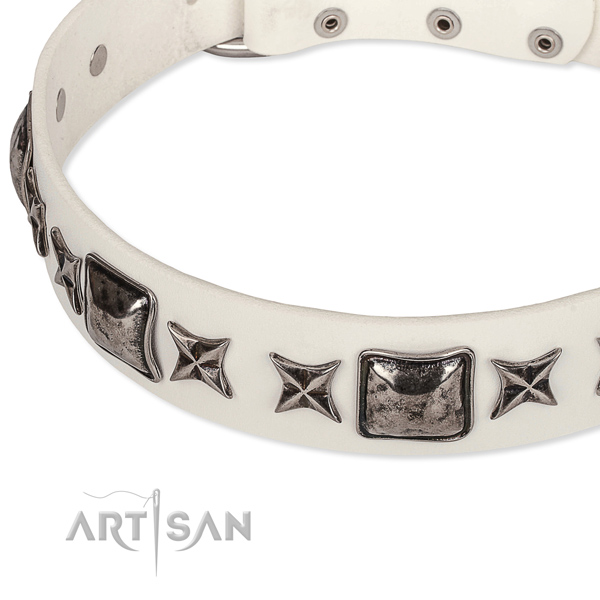 Dog-friendly white leather dog collar
