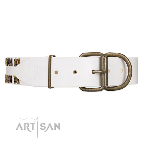 Handmade White Leather Dog Collar with Rust-proof Hardware