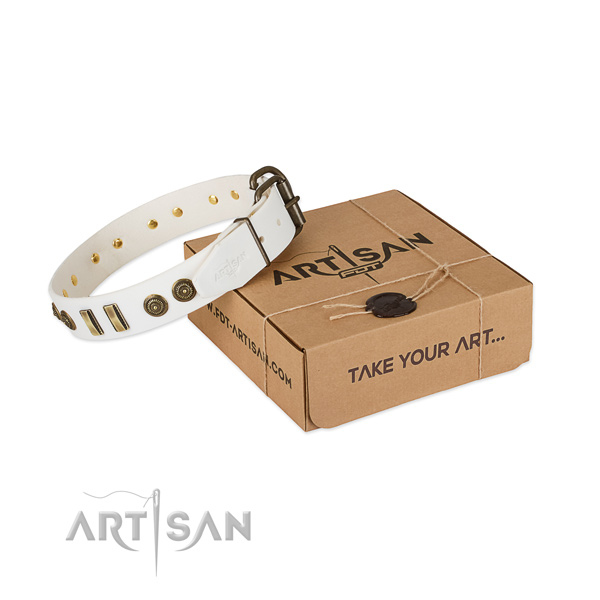 Awesome white leather dog collar with decorations