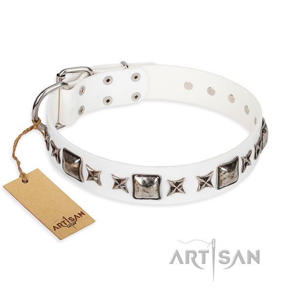 Embellished white leather dog collar