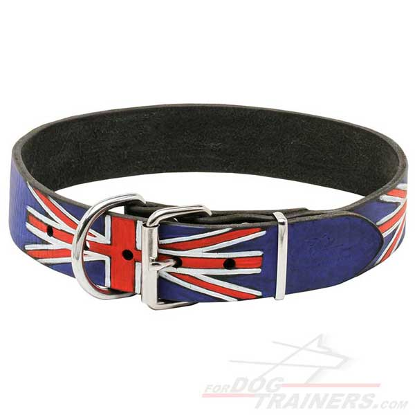 Leather Collar for Dog Walking equipped with rustproof metal buckle