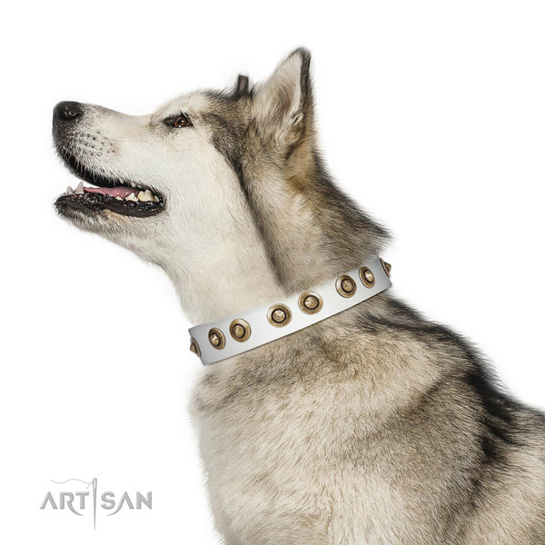 White Leather Malamute Collar with Vintage Decor