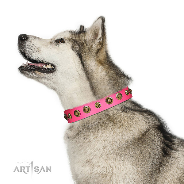 Totally safe Malamute Artisan pink leather collar