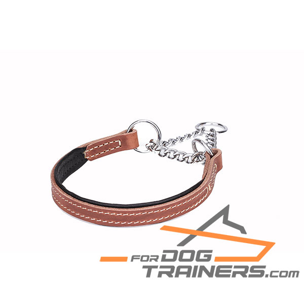 Softly padded martingale tan leather dog collar