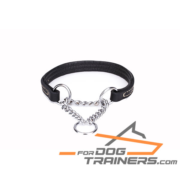 Strong martingale black leather dog collar