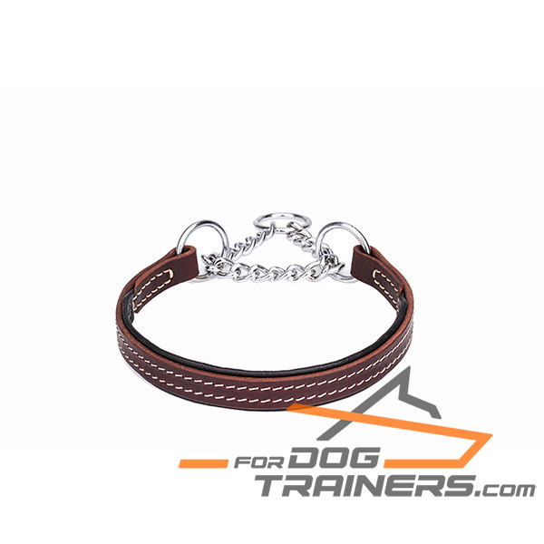 Martingale brown dog collar with leather part