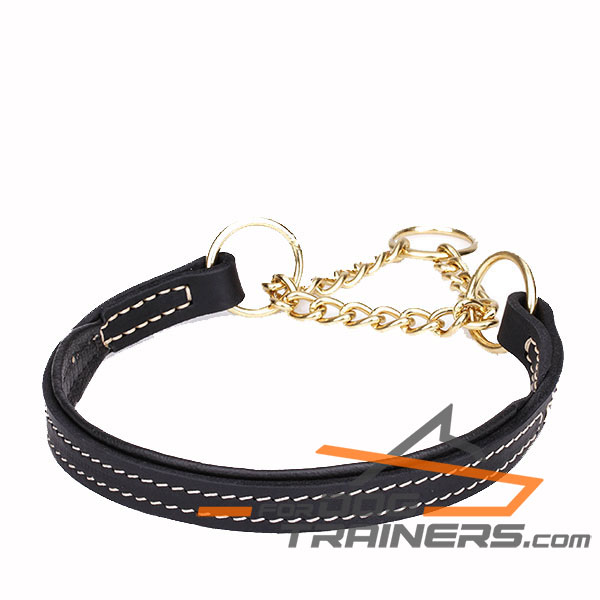 Martingale black leather dog collar with strong chain