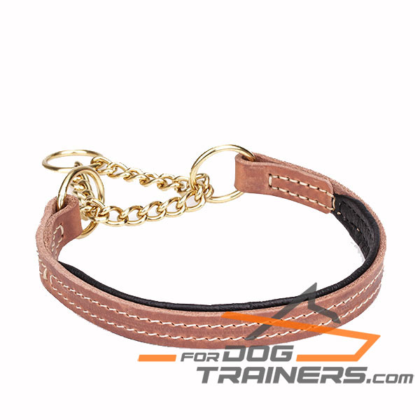 Martingale tan dog collar manufactured from genuine leather