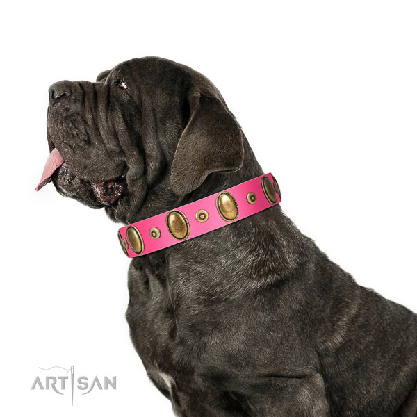Bright Pink Leather Mastino Napoletano Collar Is a