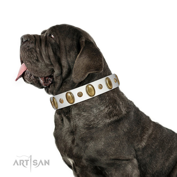 White Mastino Neapoletano Artisan leather collar for elegant look