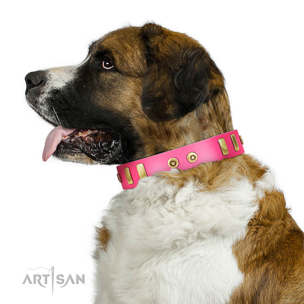 Super comfortable pink leather Moscow Watchdog collar with amazing decorations