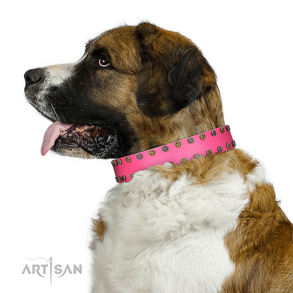 Artisan leather Moscow Watchdog collar for perfect control