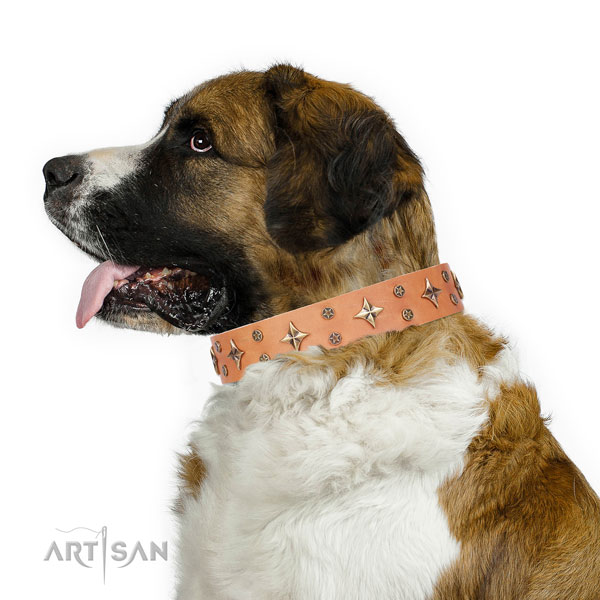 Moscow Watchdog unique natural genuine leather dog collar with decorations