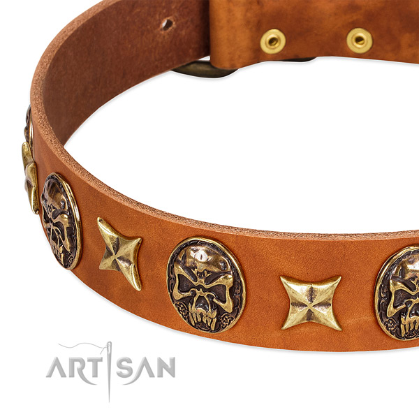 Old bronze-like stars and skulls on tan leather FDT