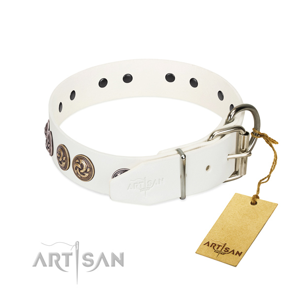 Decorated white leather dog collar is super trendy