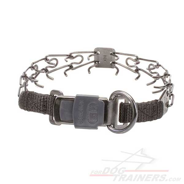 Dog pinch collar with D-ring for attaching a leash