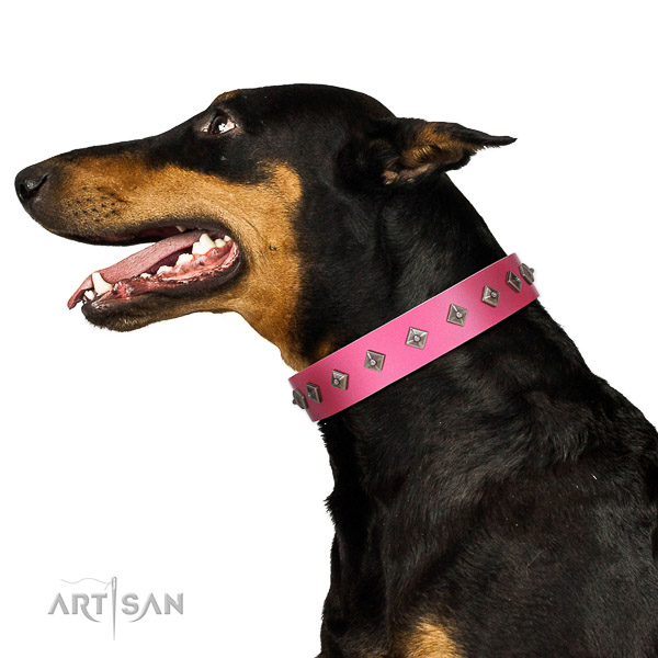 Pink Leather Doberman Collar with Mix of Square Studs