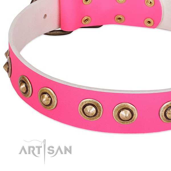 PInk Leather Dog Collar Decorated with Large Studs
