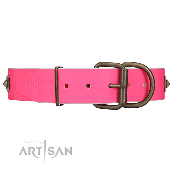Easy-to-fasten Strong Buckle on Pink Leather Dog Collar