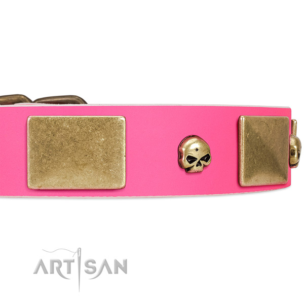 Chic Style Pink Leather Dog Collar Adorned with Skulls and Plates