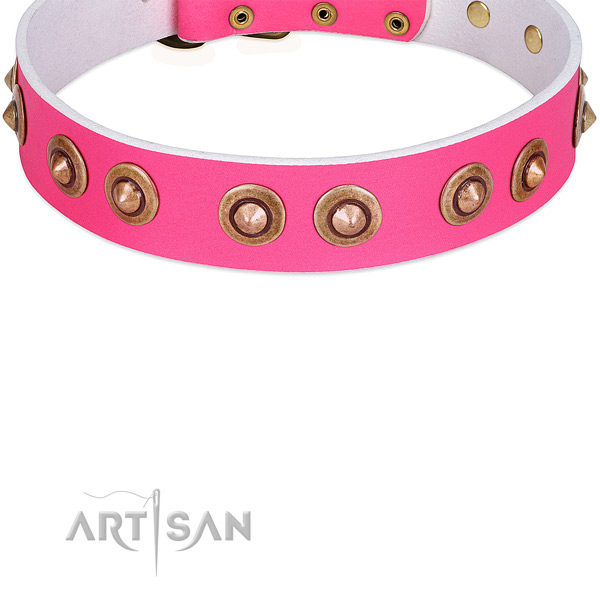 Pink Leather Dog Collar Decorated with Large Medieval Brooches