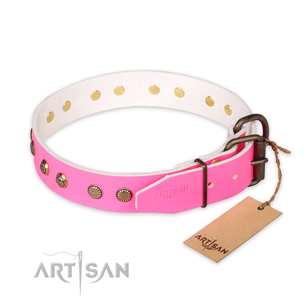 Designer Pink Leather Dog Collar with Studs