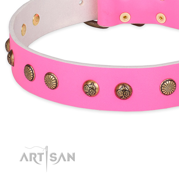 Perfect Fit Pink Leather Dog Collar