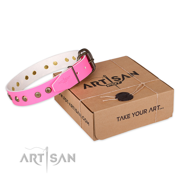 Designer Pink Leather Dog Collar with Old Bronze Plated Decorations