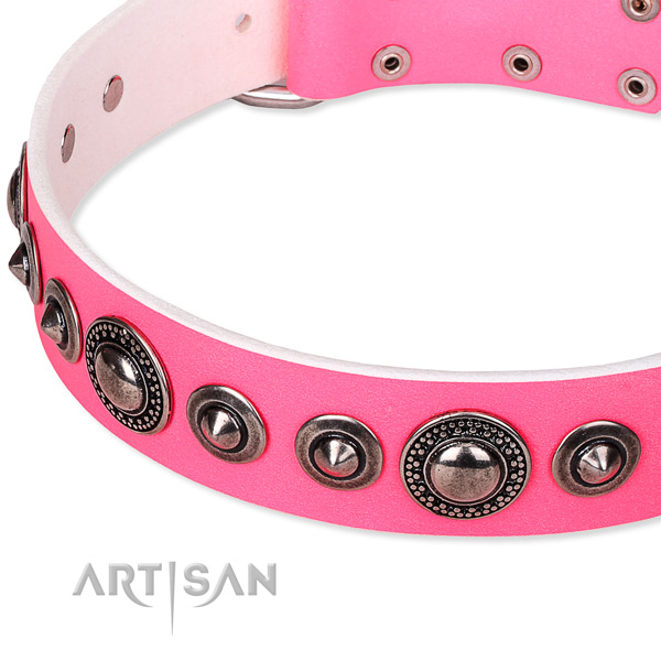Pink leather dog collar with rounded edges