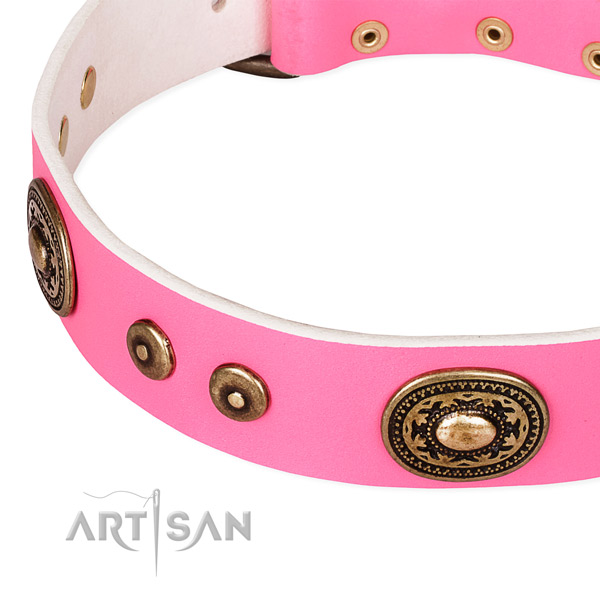 Eco-friendly pink leather dog collar